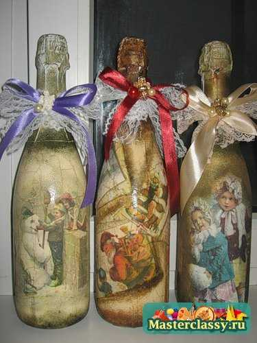 Как украсить бутылку шампанского к Новому году.