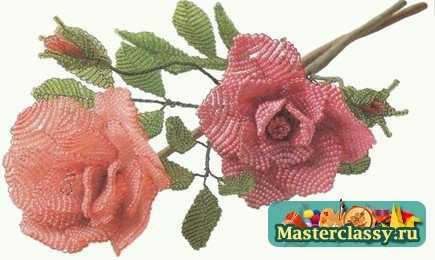 роза из бисера параллельным плетением - О том, как плести бисером.