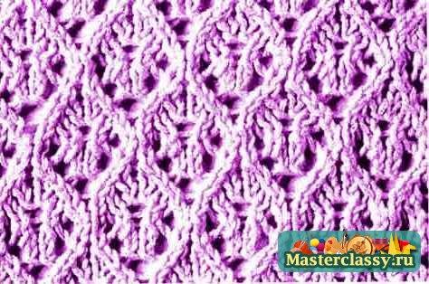 двухцветное ажурное вязание спицами