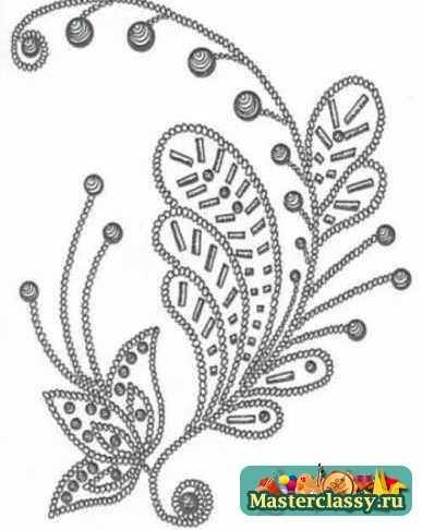 Схем вышивки для детской одежды бисером и стеклярусом.