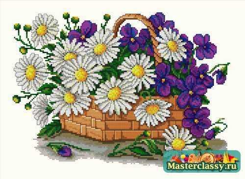А вот вышивка цветок