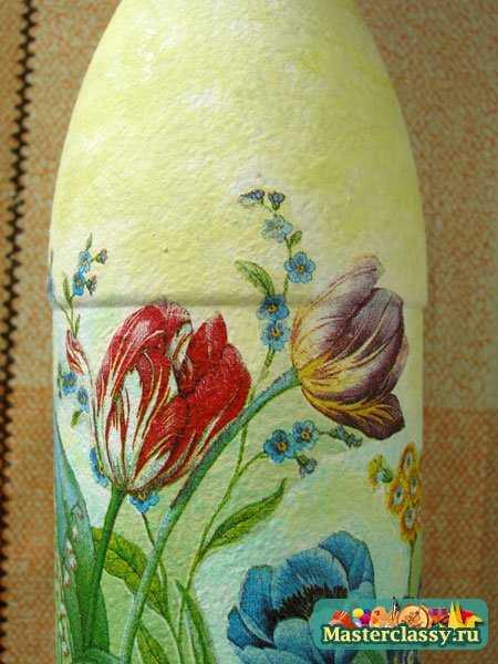 декупаж бутылки цветы