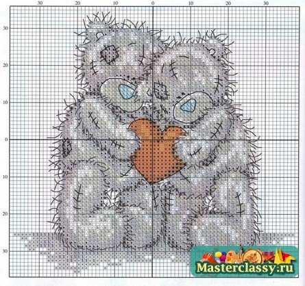 Схема вышивки крестом 'Мишка