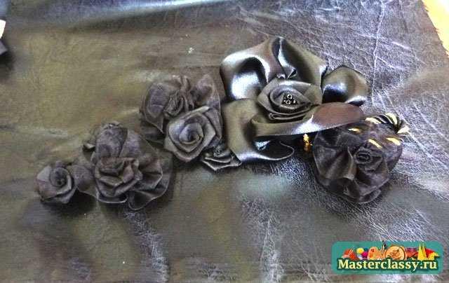 Роза из органзы своими руками фото