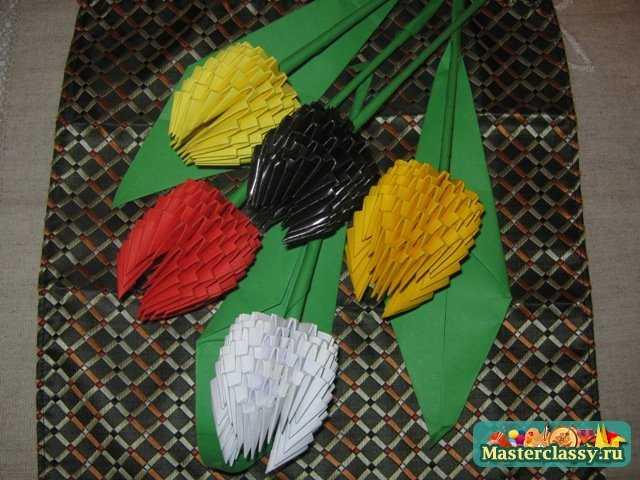 Модульное оригами.  Тюльпан.  Мастер-класс.