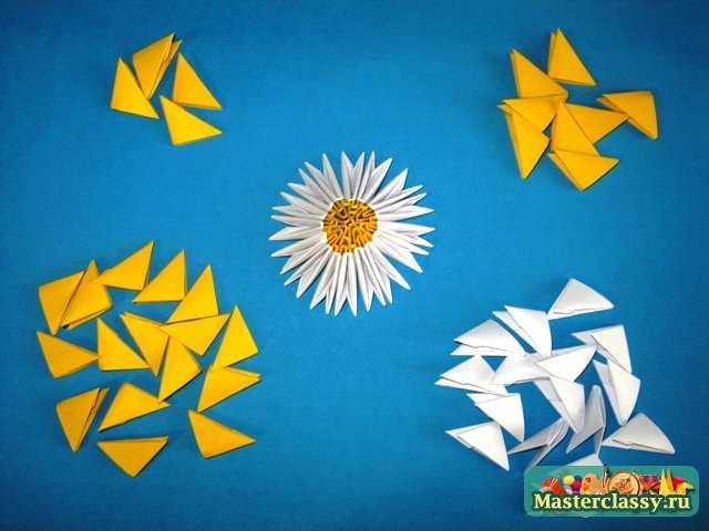 оригами из треугольных модулей лотос