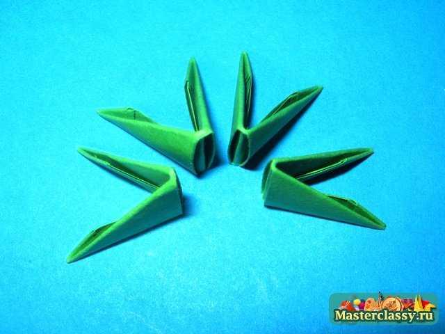 Модульное оригами.  Лилия.  Мастер-класс.  Лист лилии 1 ряд.