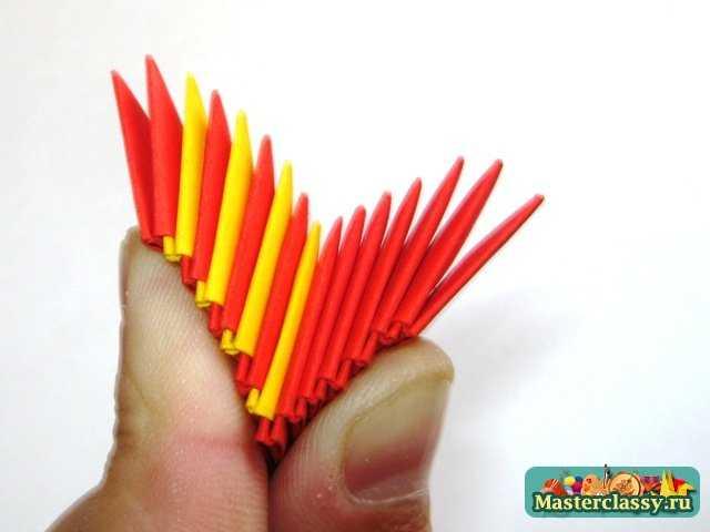 Крыло дракона первый ряд.  Дракон с крыльями.  Модульное оригами.  Мастер-класс.