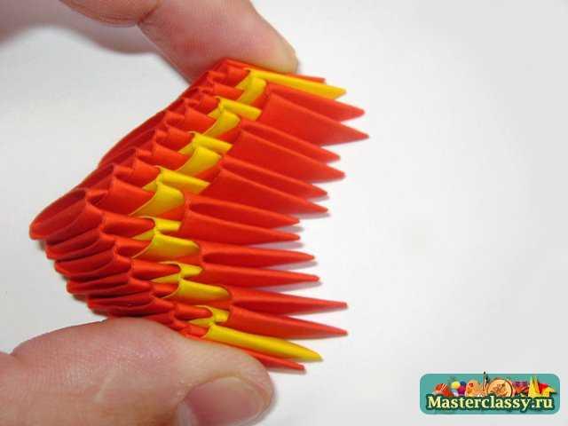 схема сборки модулей оригами ваза.