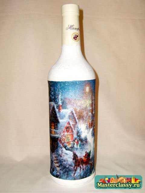 Новогодний декупаж бутылки