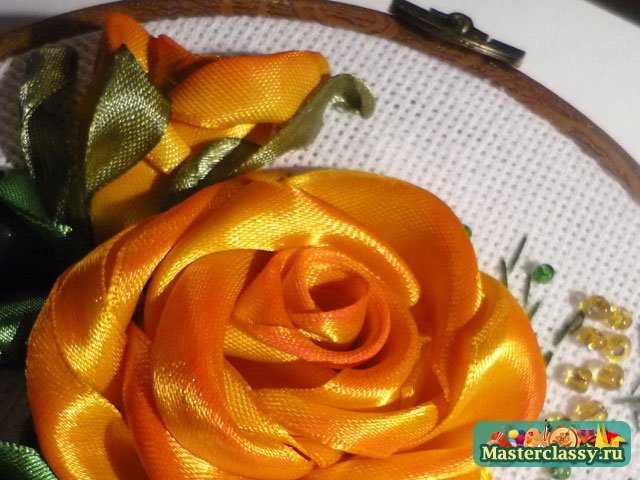Вышивка лентами. Желтые розы