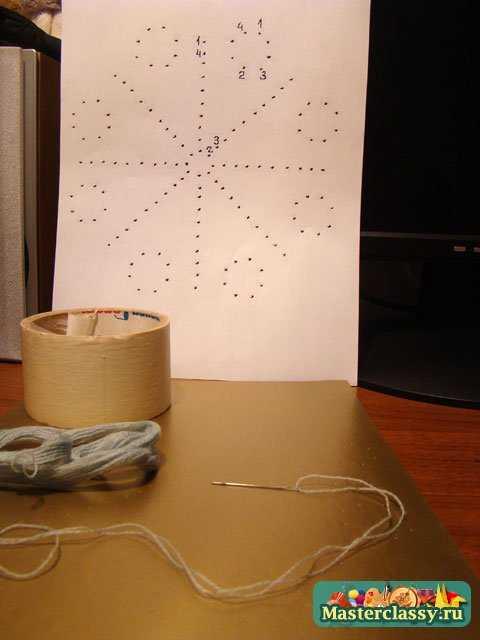 Согласно схеме иголку втыкаем в дырочку с номером 1. На обратной стороне картона ниточку закрепляем с помощью ленты...