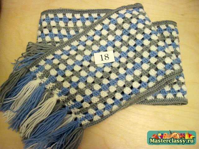 Шарф крючком.  Все этапы вязания рассмотрены на этом сайте.  Вариаций вязания шарфов очень много, можно рассмотреть...