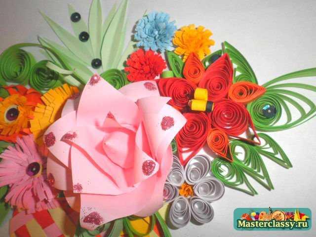 Квиллинг картины корзина с цветами