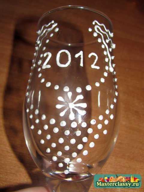 Украшение бокалов на Новый год в 3 вариантах