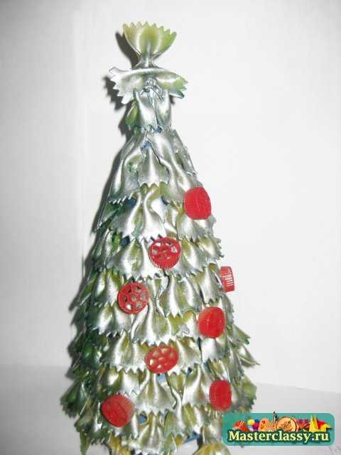 Серебрянная ёлка из макарон на Новый год