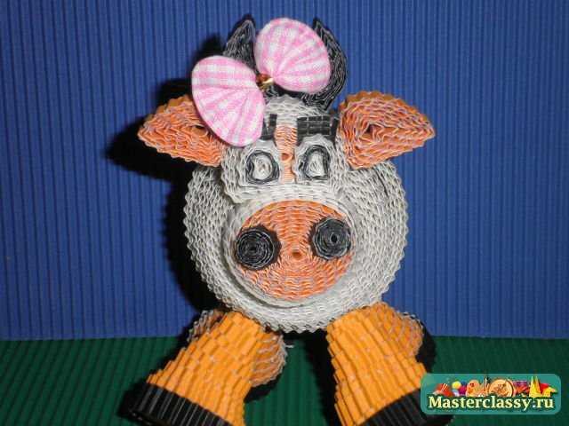 Вот такая получилась коровка :) Также с малышом можно изготовить.  Квиллинг для детей.  Поросенок.  Мастер-класс.
