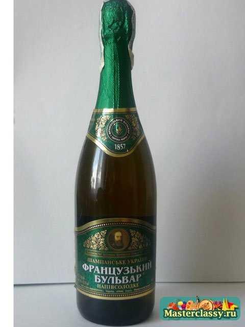 Декупаж. Декор новогоднего шампанского