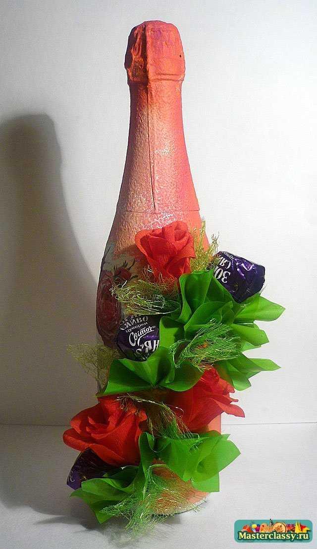 Мой любимый мастер класс по декупажу бутылки с розами