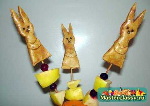 Поделки из соленого теста: палочки для канапе «Пасхальные зайцы»