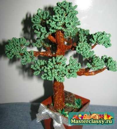 Плетение деревьев из бисера