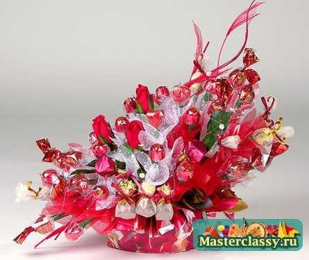 Цветы поделки из конфет можно