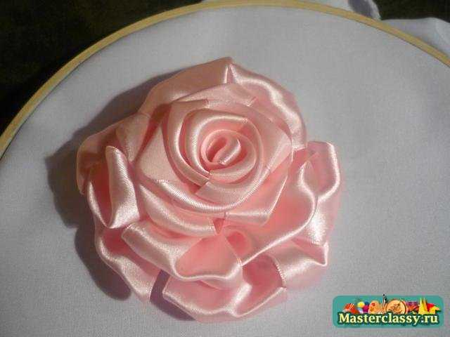 роза из лент мастер класс.