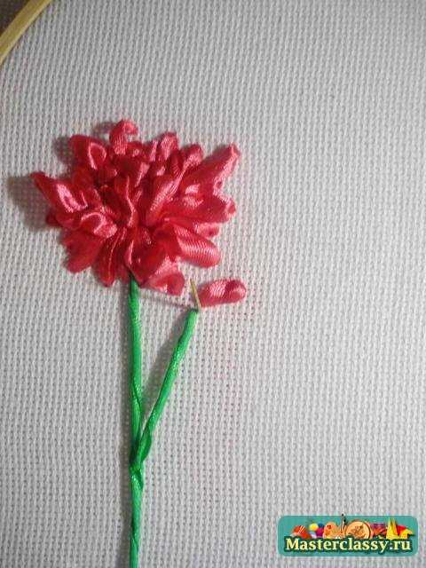 Цветок астра из ленты пошаговое