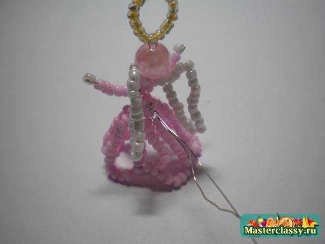 Ангел объемный из бисера Мастер класс Розовое чудо.