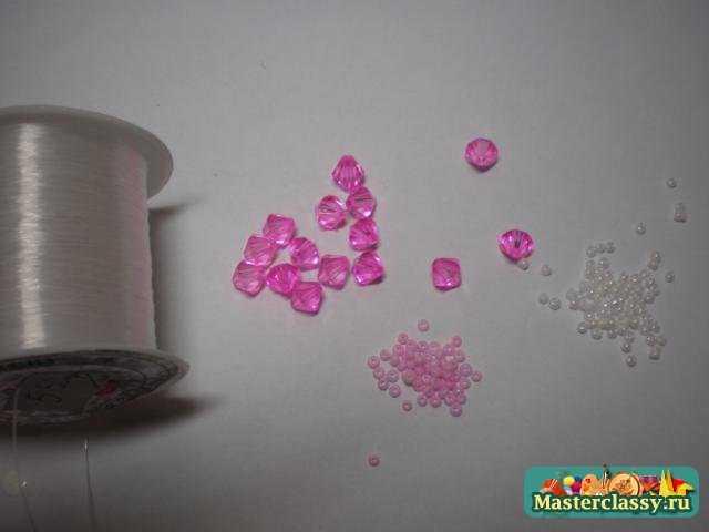 Кольцо из бисера розовое настроение