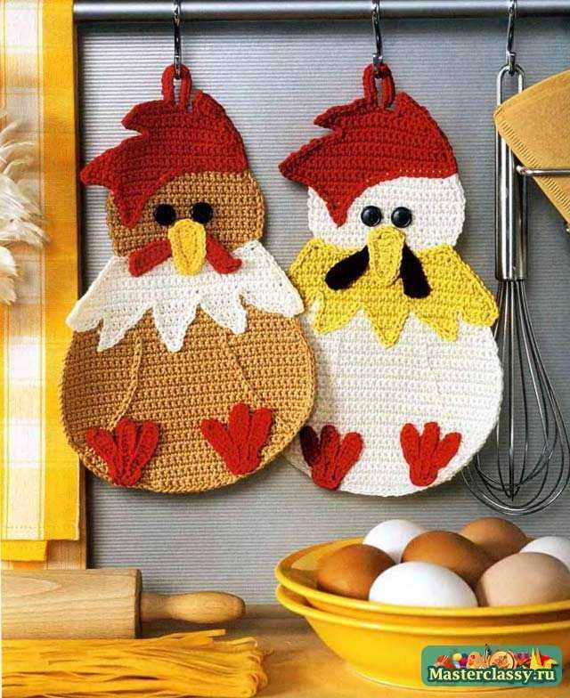 Курица и цыплята вязаные