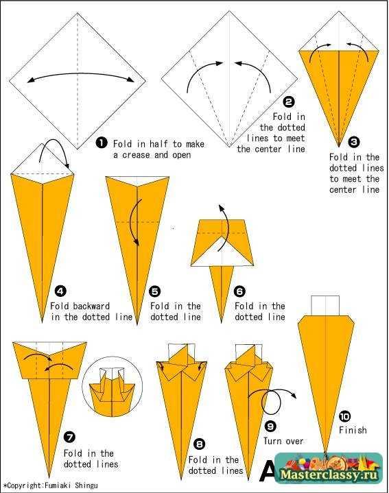 Оригами Морковь. Схема