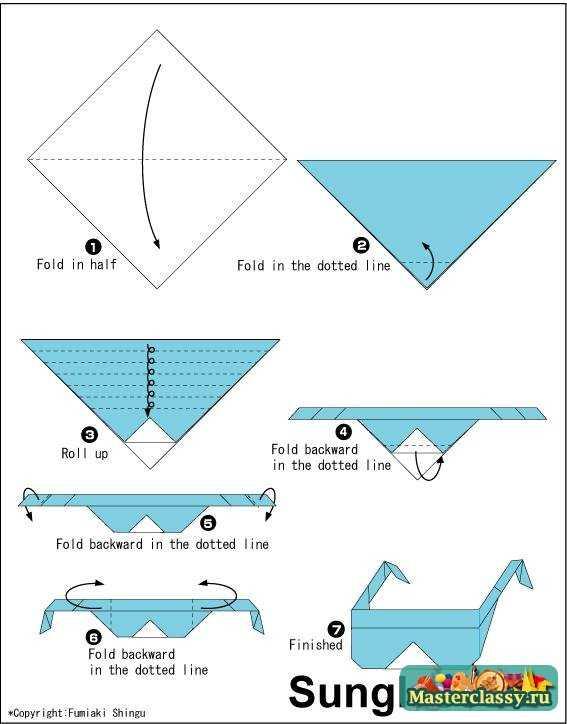 """Оригами.  Схема """" предлагает смастерить забавную модель в синем цвете (но можно брать любой другой оттенок)."""