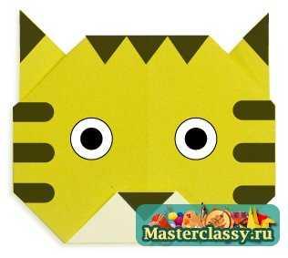 Тигр из бумаги мордочка оригами