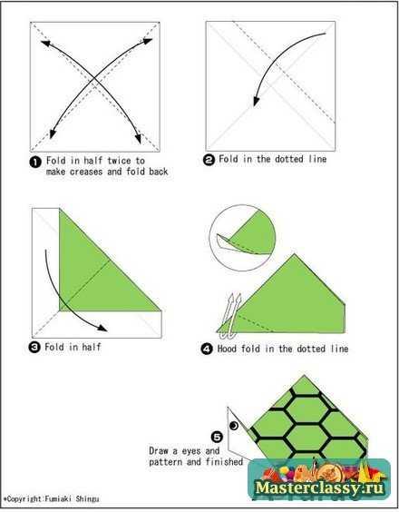 Черепаха из бумаги. Оригами