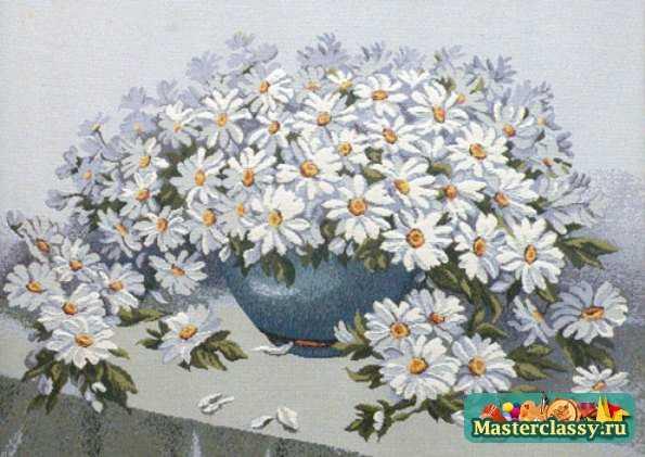 Картины из цветов из ленты своими руками