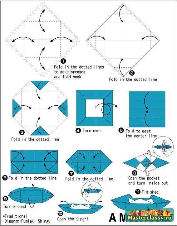 Оригами лодка из бумаги. Схема
