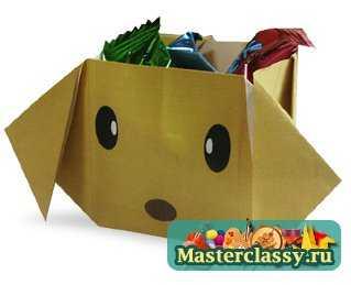 """Мастер классы  """" Оригами  """" Оригами.  Схемы  """" Оригами коробка - собака.  Схема Источник."""