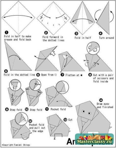 Слон из бумаги. Схема оригами. «