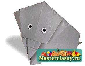 Слон из бумаги. Схема оригами