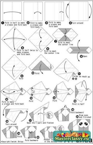 Панда из бумаги. Схема оригами