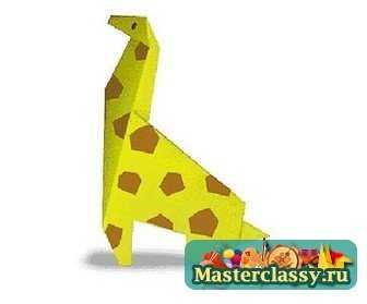 Жираф из бумаги. Схема оригами