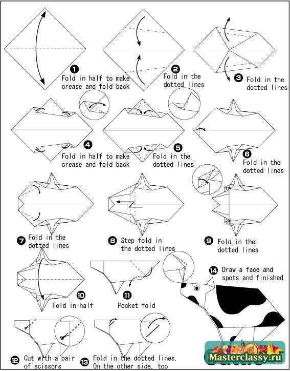 """""""Корова оригами """" схема удобна для сборки в... По завершении поделки по  """"Оригами корова.  Схема """" ей можно приделать..."""