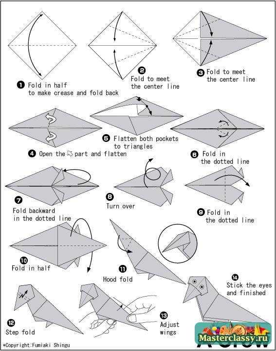 Ворона из бумаги. Схема