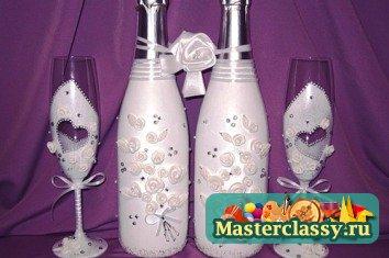 Новогодний декупаж бутылок шампанского своими руками