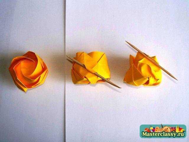 Роза оригами – второй этап