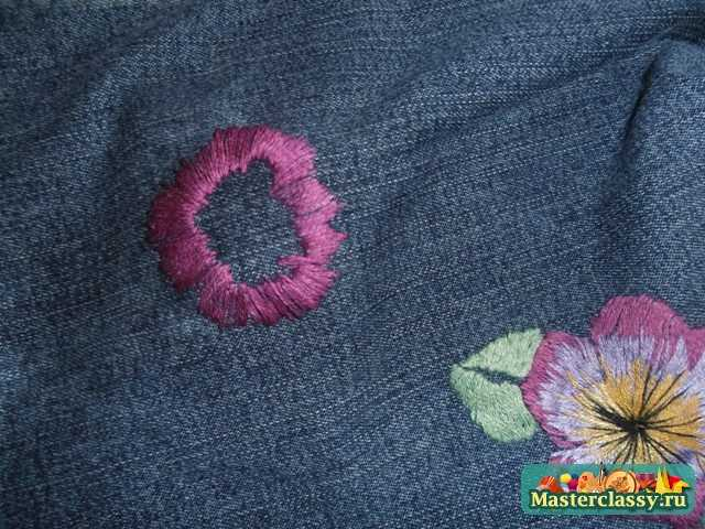 вышивка гладью цветка 3