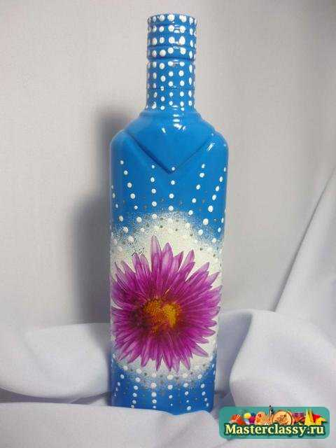 Декупаж бутылки. Синяя фантазия. Мастер класс