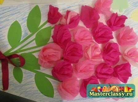 Аппликация из бумаги - цветы