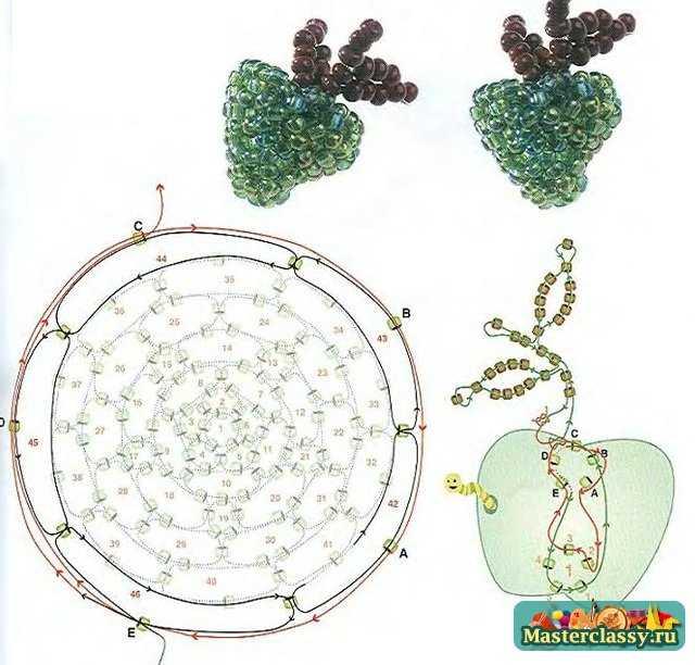зеленое яблоко сплетенное из бисера. схема плетения овоща из бисера.
